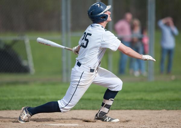 05/11/18 Wesley Bunnell | Staff Newington baseball vs Hall on Friday afternoon at Newington High School. Ethan Erbera (25).