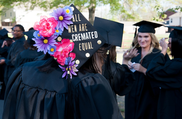 05/11/18 Wesley Bunnell | Staff Lincoln College of New England held their Fifty-first Annual Commencement Ceremony on Friday evening on the college campus. Mortuary Science Major Sabrina Presuto with a decorated mortar board.