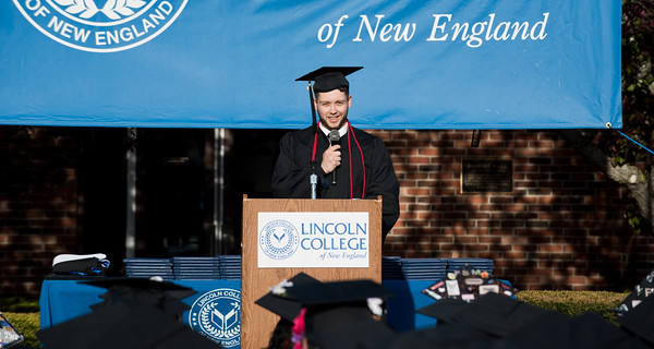 05/11/18 Wesley Bunnell | Staff Lincoln College of New England held their Fifty-first Annual Commencement Ceremony on Friday evening on the college campus. Nicholas Theroux gives the Valedictory Address.