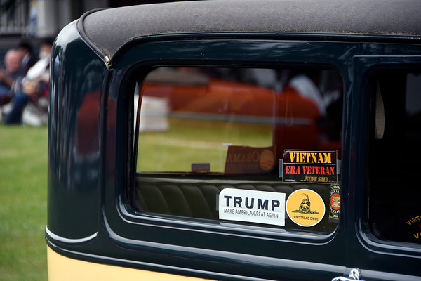 6/17/2017 Mike Orazzi | Staff Window stickers on a 1931 Ford Model A during the Klingberg Vintage Motorcar Festival in New Britain Saturday morning.