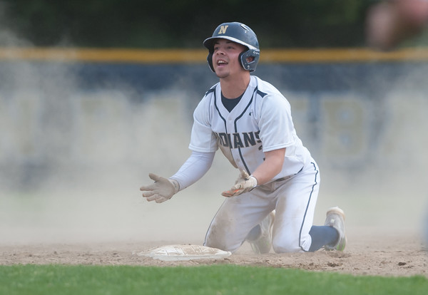 05/11/18 Wesley Bunnell | Staff Newington baseball vs Hall on Friday afternoon at Newington High School. Cooper Johnson (3) reacts after being called out on a steal attempt to end the inning.