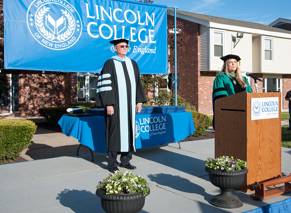 05/11/18 Wesley Bunnell | Staff Lincoln College of New England held their Fifty-first Annual Commencement Ceremony on Friday evening on the college campus. College President Jim Vernon, L, and Grand Marshal Nicole Kras.