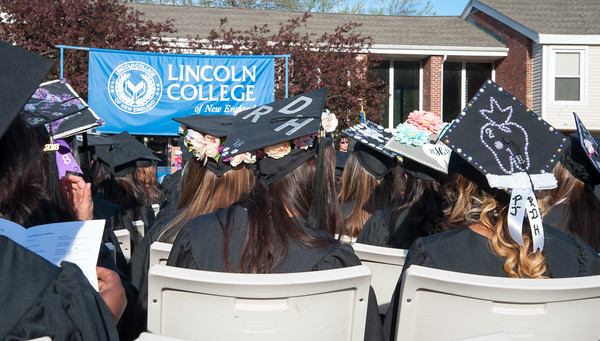 05/11/18 Wesley Bunnell | Staff Lincoln College of New England held their Fifty-first Annual Commencement Ceremony on Friday evening on the college campus. Classmates with mortar boards from Registered Dental Hygienists.
