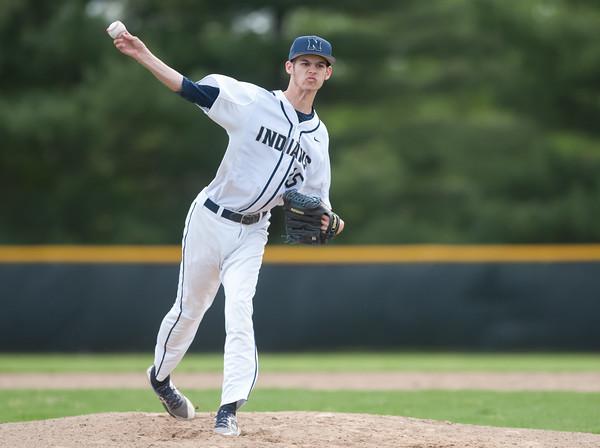 05/11/18 Wesley Bunnell | Staff Newington baseball vs Hall on Friday afternoon at Newington High School. Starting pitcher Josh LeClair (15).