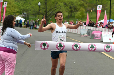 5/12/2018 Mike Orazzi | Staff Ben Lanza takes first place in the 5k race during the CT Race in The Park Saturday morning in New Britain's Walnut HIll Park.