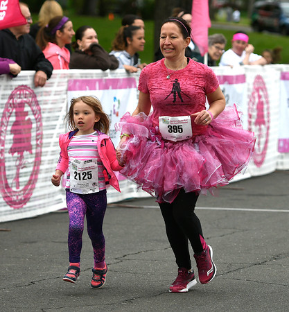 5/12/2018 Mike Orazzi | Staff Elizabeth Johnston and her daughter Molly,5, during the CT Race in The Park Saturday morning in New Britain's Walnut HIll Park.