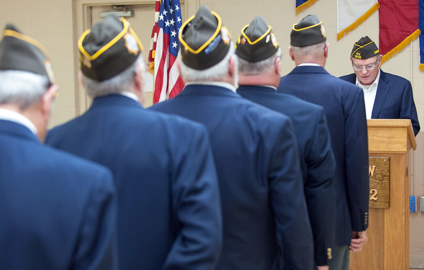 05/16/18 Wesley Bunnell | Staff The Berlin VFW 10732 held their installation of officers on Wednesday May 16th. Officers line up at attention as Dave Kloskowski gives final remarks.