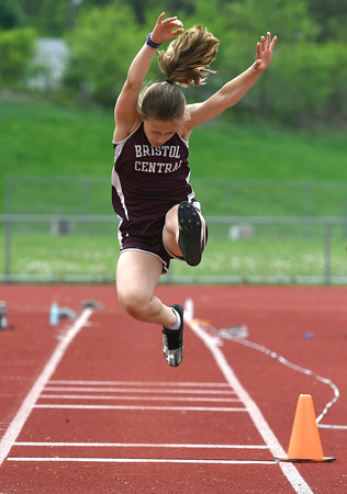 5/16/2018 Mike Orazzi | Staff Bristol Central's Abby Calfe Wednesday at BC.