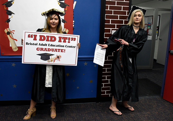 5/16/2018 Mike Orazzi | Staff Nicole Carey and Hannah Soucy at the 2018 Bristol Adult Education Graduation Wednesday night held at the Bristol Adult Education Center.