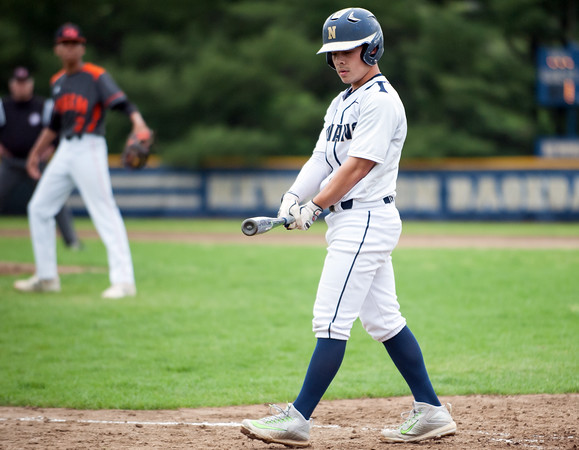 05/16/18 Wesley Bunnell | Staff Newington baseball defeated E.C. Goodwin Tech on Wednesday afternoon at Newington High School. Cooper Johnson (3) looks down at his bat after a swing and miss.