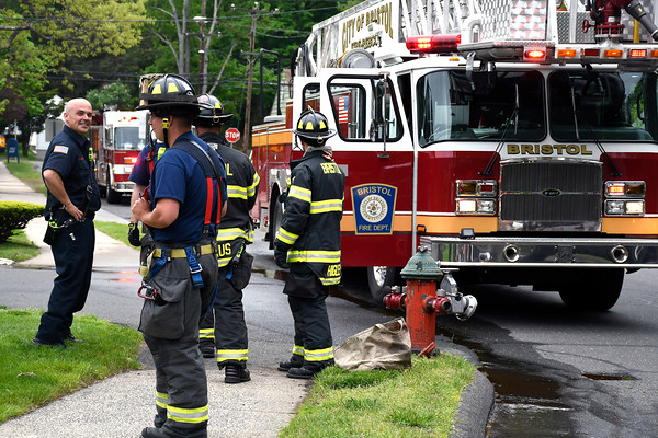 5/16/2018 Mike Orazzi | Staff Members of the Bristol fire department of scene after a report of a gas leak at Sheriden Woods in Bristol Wednesday.