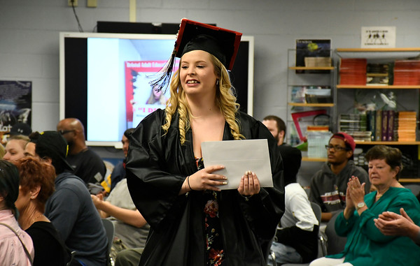 5/16/2018 Mike Orazzi | Staff Erika Renehan at the 2018 Bristol Adult Education Graduation Wednesday night held at the Bristol Adult Education Center.