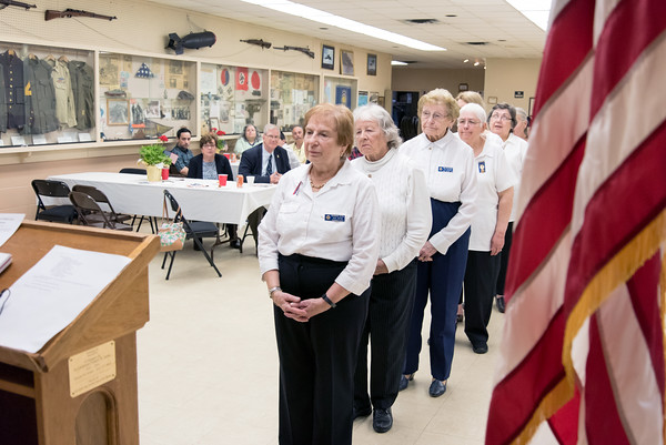 05/16/18 Wesley Bunnell | Staff The Berlin VFW 10732 held their installation of officers on Wednesday May 16th. VFW Auxiliary President Barbara Rival stands at the front as the oaths are read.