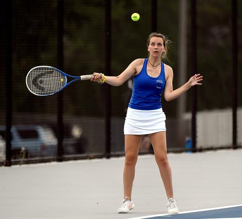 5/17/2018 Mike Orazzi   Staff Bristol Eastern's Sara Stadnicki during Thursday's tennis match.