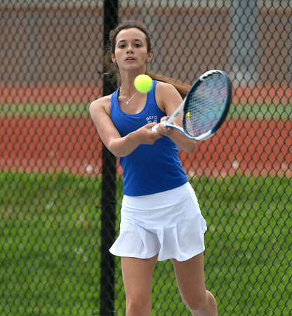 5/17/2018 Mike Orazzi   Staff Bristol Eastern's Julia O'Leary during Thursday's tennis match.