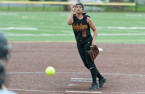 05/17/18 Wesley Bunnell   Staff New Britain softball defeated Wethersfield on Thursday afternoon at Chesley Park. Joseleen Rivera (6).