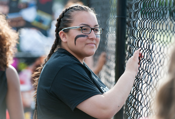 05/17/18 Wesley Bunnell   Staff New Britain softball defeated Wethersfield on Thursday afternoon at Chesley Park. Injured Gabriella Roy (11) watches the game from the dugout.