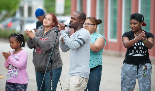 05/17/18 Wesley Bunnell   Staff The New Britain Artists' Co-op held open mic outdoors on Thursday night at KC's on Main. Singer Low Key performs an original song The Only One.