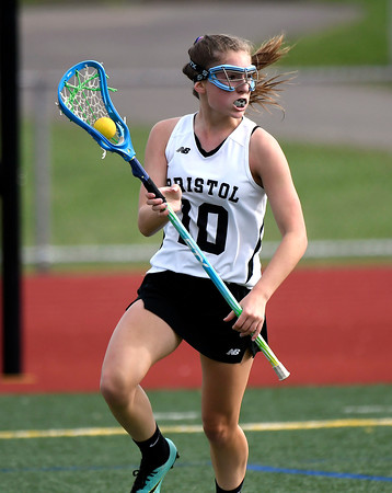 5/18/2018 Mike Orazzi | Staff Bristol Co-Op's Lily Hansen (10) during lacrosse at BC Friday.