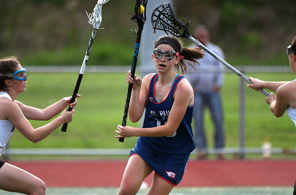 5/18/2018 Mike Orazzi | Staff St. Paul's Greta Panke (16) during lacrosse at BC Friday.