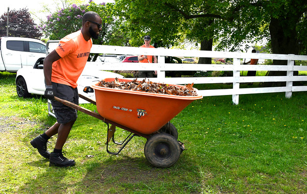 5/18/2018 Mike Orazzi | Staff United Way of Day Caring volunteerCecil Rivers while working at Shepard Meadows Therapeutic Riding Center in Bristol Friday.