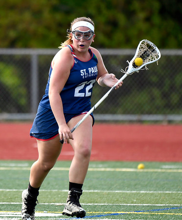 5/18/2018 Mike Orazzi | Staff St. Paul's Meg Fortier (22) during lacrosse at BC Friday.