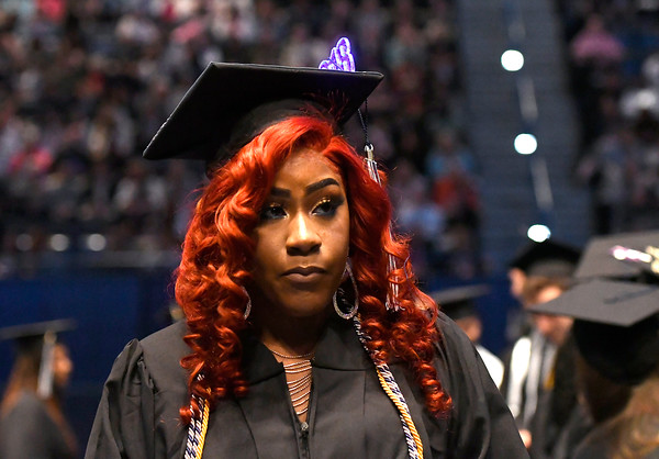 5/19/2018 Mike Orazzi | Staff Terrica Drummond while at the XL Center for the CCSU commencement ceremony Saturday in Hartford.