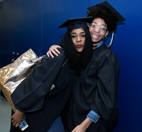 5/19/2018 Mike Orazzi | Staff Natasia Lindsay and Jasmin Golding while at the XL Center for the CCSU commencement ceremony Saturday in Hartford.
