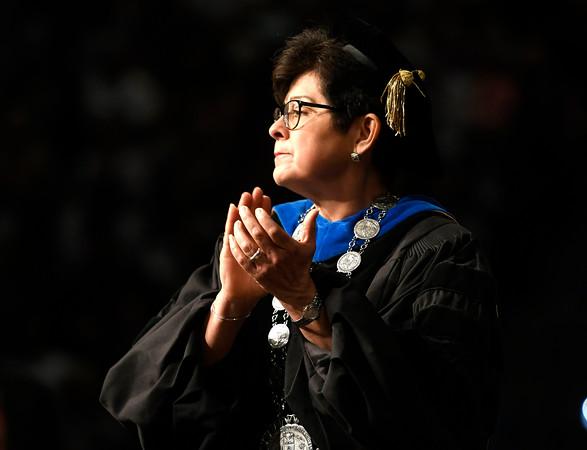 5/19/2018 Mike Orazzi   Staff CCSU President Zulma R. Toro during the commencement ceremony Saturday in Hartford.