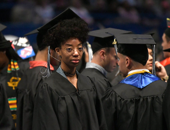 5/19/2018 Mike Orazzi | Staff Jasmin Golding while at the XL Center for the CCSU commencement ceremony Saturday in Hartford.