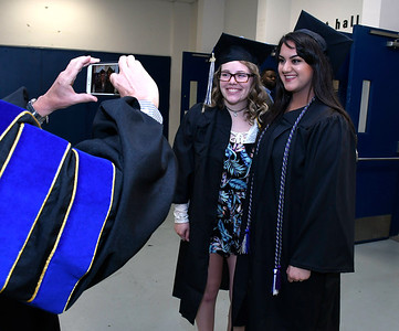 5/19/2018 Mike Orazzi | Staff Ashleigh Morelli and Damini Jadav while at the XL Center for the CCSU commencement ceremony Saturday in Hartford.