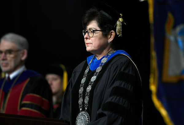 5/19/2018 Mike Orazzi | Staff CCSU President Zulma R. Toro during the commencement ceremony Saturday in Hartford.