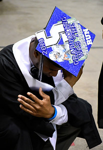 5/19/2018 Mike Orazzi | Staff CCSU student athlete Cameron Nash while at the XL Center for the CCSU commencement ceremony Saturday in Hartford.