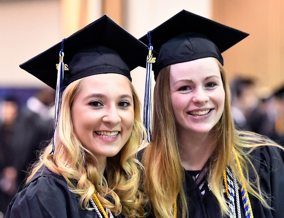 5/19/2018 Mike Orazzi | Staff Lilia Miller and Annabelle Bass while at the XL Center for the CCSU commencement ceremony Saturday in Hartford.