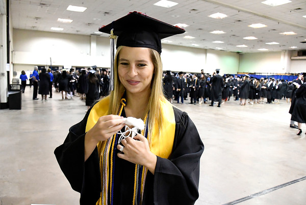 5/19/2018 Mike Orazzi   Staff Rebecca Fontaine while at the XL Center for the CCSU commencement ceremony Saturday in Hartford.