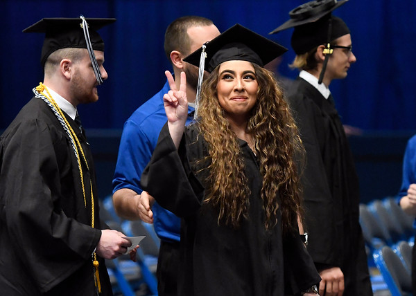 5/19/2018 Mike Orazzi | Staff Isabella Cialfi while at the XL Center for the CCSU commencement ceremony Saturday in Hartford.