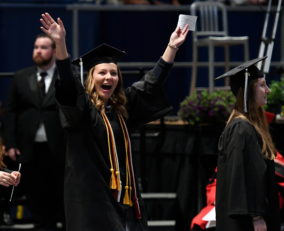 5/19/2018 Mike Orazzi | Staff Emily Hogan while at the XL Center for the CCSU commencement ceremony Saturday in Hartford.