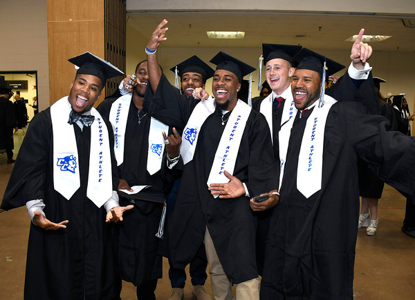 5/19/2018 Mike Orazzi | Staff CCSU student athletes while at the XL Center for the CCSU commencement ceremony Saturday in Hartford.