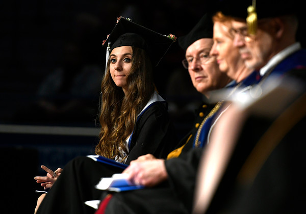 5/19/2018 Mike Orazzi | Staff Senior Class President Sedina Begic during the CCSU commencement ceremony Saturday in Hartford.