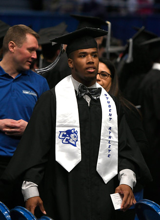 5/19/2018 Mike Orazzi   Staff CCSU student athlete Cameron Nash while at the XL Center for the CCSU commencement ceremony Saturday in Hartford.