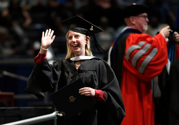 5/19/2018 Mike Orazzi | Staff Regan Miner during the commencement ceremony Saturday in Hartford.