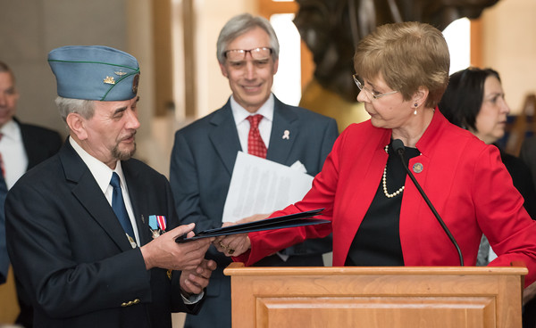 05/02/18 Wesley Bunnell | Staff Polish Day at the Capitol was held on Wednesday morning int he State Capitol to commemorate the 227th anniversary of the Polish Constitution and the 27th anniversary of the event. 2018 Honoree Robert Iwanicki who is involved in several Polish-American organizations receives his citation from State Rep. Tami Zawistowski.