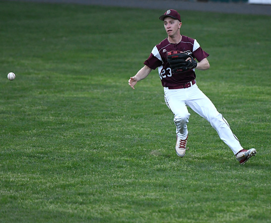 5/2/2018 Mike Orazzi | Staff Bristol Central's Alec Diloreto (23) during Wednesday's baseball game at Muzzy Field.