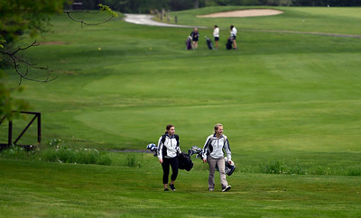 5/22/2018 Mike Orazzi   Staff St. Paul's Bella Hamelin and Sarah Richardson during Tuesday's golf match at Chippanee Golf Club in Bristol.