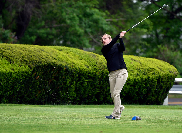 5/22/2018 Mike Orazzi | Staff Naugatucks Madison Brink during Tuesday's golf match at Chippanee Golf Club in Bristol.