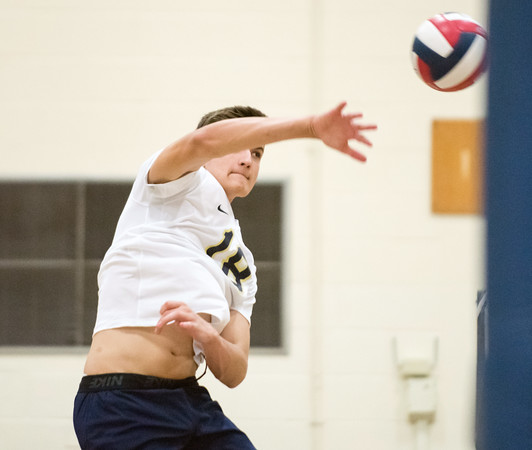 05/22/18 Wesley Bunnell | Staff Newington volleyball in action in the CCC Quarterfinal Tuesday afternoon. Teddy Fravel (18).