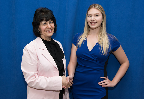 05/24/18 Wesley Bunnell | Staff New Britain High School held their Senior Scholarship Night at the high school on Thursday night. Maria Bernacki presented the Lions Club Scholarship to Izabela Wojcik who will persue Health Science at UCONN.