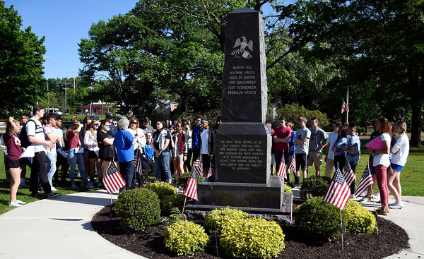 5/24/2018 Mike Orazzi | Staff Deanne Levesque explains the Revolutionary War monument to Bristol high school students Thursday morning on Memorial Blvd.