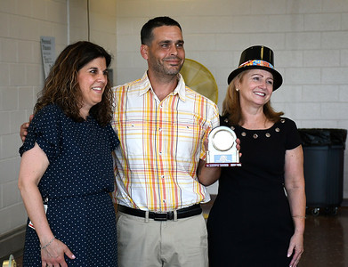 5/25/2018 Mike Orazzi | Staff West Bristol School Principal Michelle Levasseur and FRC Director Linda Rich with exceptional parent volunteer Bill Fabrizio during the FRC 2018 Volunteer Recognition Big Top Event.