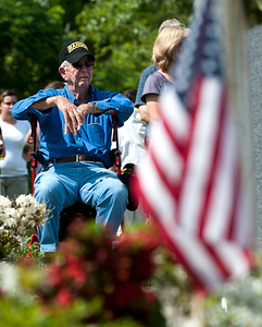 5/26/2018 Mike Orazzi | Staff Army Ranger Ralph Borriello,90, during the Town of Berlin Memorial Day activiites Saturday.